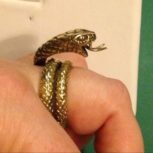 Serious Serpent Snake Gold Sterling Ring